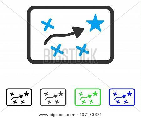 Route Map flat vector pictogram. Colored route map gray, black, blue, green icon variants. Flat icon style for web design.