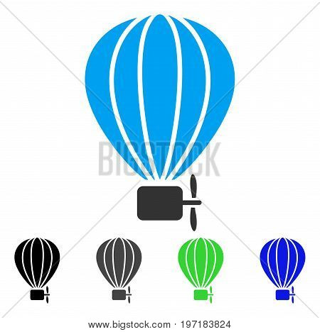 Aerostat Balloon flat vector pictograph. Colored aerostat balloon gray, black, blue, green pictogram variants. Flat icon style for application design.