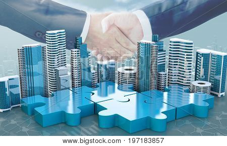 Merger And Acquisition Business Concepts, Join Puzzle Pieces