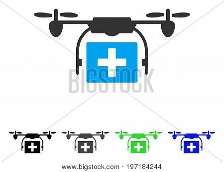 Ambulance Drone flat vector pictograph. Colored ambulance drone gray, black, blue, green pictogram variants. Flat icon style for web design.