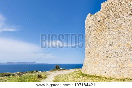 Montgo tower was used to protect the fishermen from piracy, built in 1598. Located on the top of Montgo Hill, which provide magnificent views of the Mediterranean sea and the Costa Brava in Spain