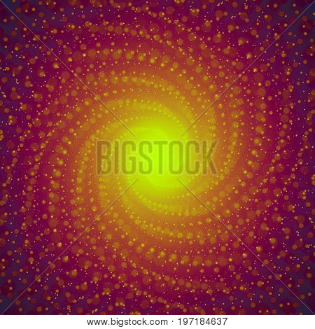 Vector infinite tunnel of shining flares on violet background with shallow depth of field. Glowing points form tunnel sectors. Abstract cyber colorful backdrop. Elegant modern geometric wallpaper