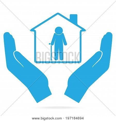 Nursing home for elderly man in hand blue icon