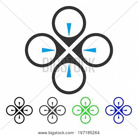 Fly Drone flat vector icon. Colored fly drone gray, black, blue, green icon versions. Flat icon style for application design.