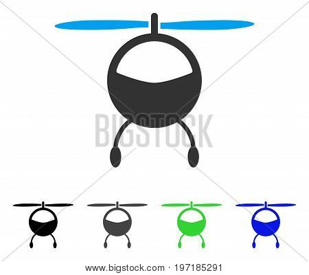 Helicopter flat vector pictogram. Colored helicopter gray, black, blue, green icon versions. Flat icon style for application design.