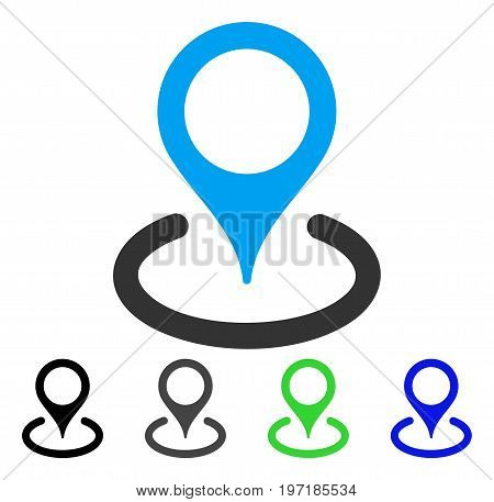Location flat vector icon. Colored location gray, black, blue, green pictogram versions. Flat icon style for graphic design.
