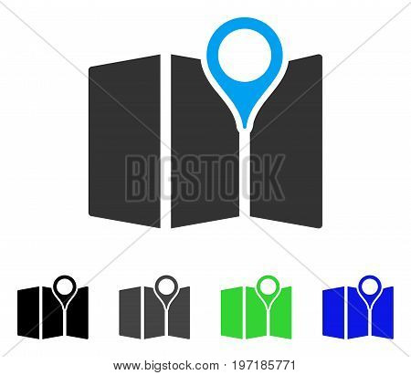 Map flat vector pictogram. Colored map gray, black, blue, green pictogram variants. Flat icon style for web design.
