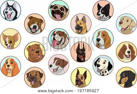 Vector illustration, set of badges funny purebred dogs, on a white background