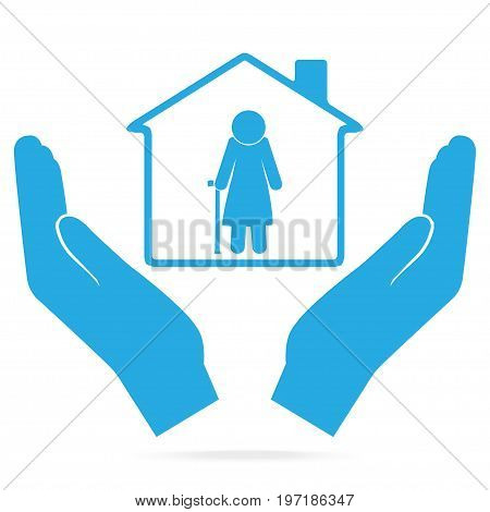 Nursing home for elderly woman in hand blue icon