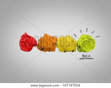 Inspiration concept from crumpled papers and light bulb metaphor for good idea