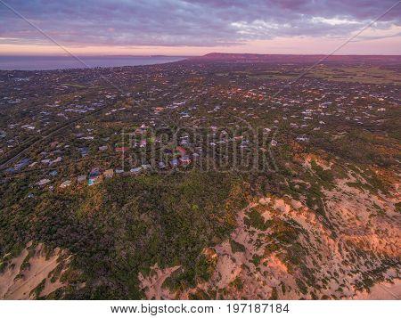 Aerial view of Mornington Peninsula suburban areas near Rye at sunset. Melbourne Australia