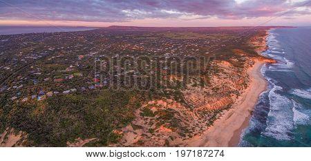 Aerial panorama of Mornington Peninsula suburban areas near Rye at sunset. Melbourne Australia