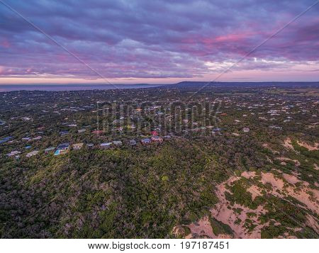 Aerial view of Mornington Peninsula suburban areas near Rye at beautiful dusk. Melbourne Australia