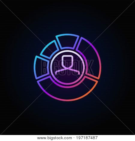 Face inside chart colorful icon - man in diagram business vector sign or logo element in thin line style dark background