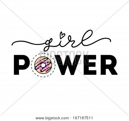 Girl power Vector poster with phrase and decor elements. Feminism slogan with lipstick and stars. Isolated typography card. Design for t-shirt and prints.