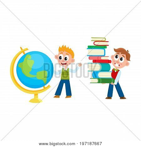 School boys - one studying globe, another carrying heavy book pile, cartoon vector illustration isolated on white background. One boy holding pile of books, another looking at globe with interest