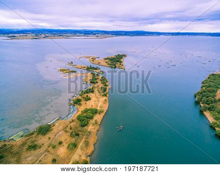 Aerial view of Eagle Point Bay at Gippsland Lakes Reserve Victoria Australia