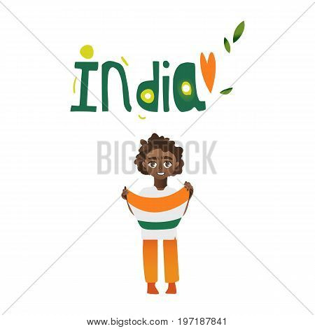 Indian boy, kid, teenager holding tricolor Indian flag in hands, cartoon vector illustration isolated on white background. Indian boy with national tricolor flag