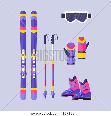 Pairs of skis, poles, boots, gloves and mask, winter sport elements, flat style vector illustration isolated on background. Flat vector ski, ski poles, boots, gloves, protective eyewear