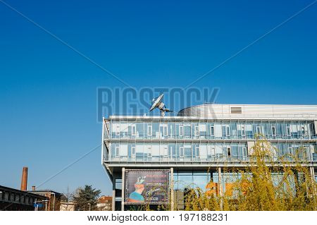 STRASBOURG FRANCE - Apr 06 2017: Arte (Association Relative a la Television Europeenne) television headquarter in Strasbourg France. Arte is a public Franco-German TV network a European channel that promotes programming in the areas of culture and the art