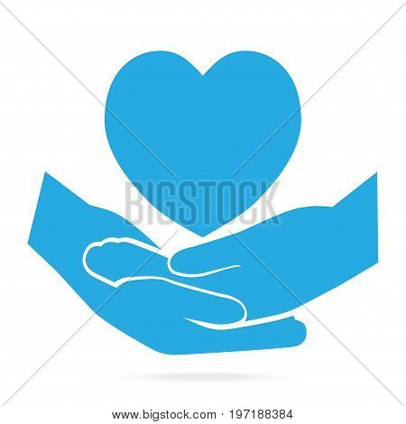 Hand clasped and heart blue icon protection care or meditation concept