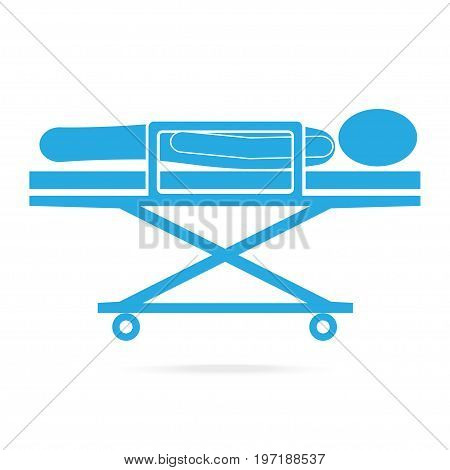 Patient on stretcher medical blue icon medical concept