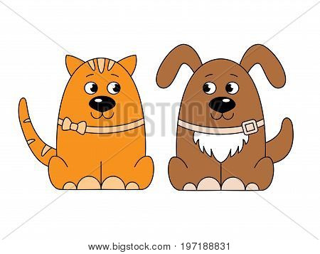 Colorful cat and dog logo.Stylized dog and cat look at each other.Isolated on white background. Cartoon style. Vector illustration