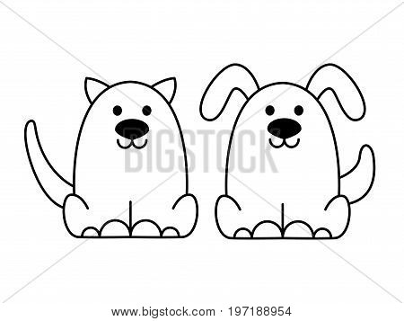 Liner cat and dog logo.Stylized dog and cat.Isolated on white background. Cartoon style. Vector illustration.Easy to change color.