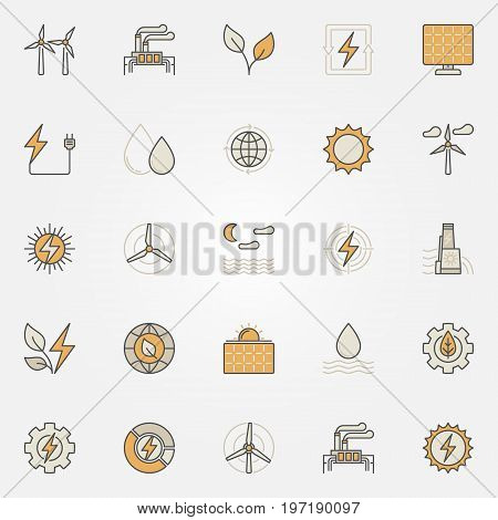 Renewable energy colorful icons. Vector solar, hydro, bio and wind power creative signs