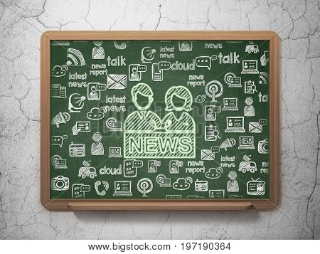 News concept: Chalk Green Anchorman icon on School board background with  Hand Drawn News Icons, 3D Rendering