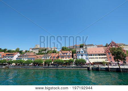View of lakeside promenade, old german city Meersburg, Germany, Europe