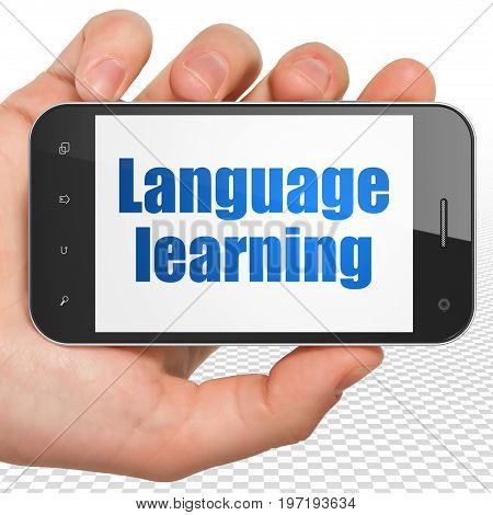 Learning concept: Hand Holding Smartphone with blue text Language Learning on display, 3D rendering