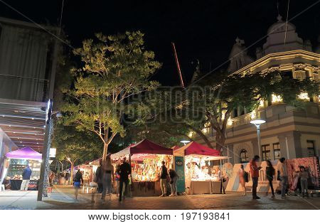 BRISBANE AUSTRALIA - JULY 8, 2017: Unidentified people visit Collective night market.