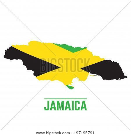 Flag and map of Jamaica, Vector illustration