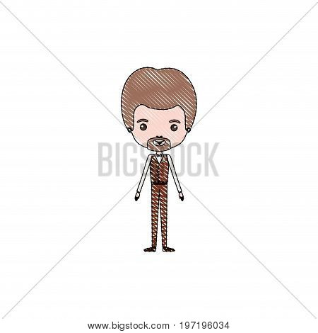 color crayon silhouette caricature groom guy in wedding formal suit with van dyke beard vector illustration