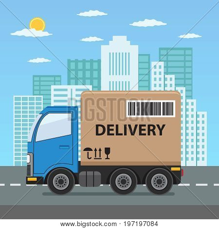 Delivery truck with cardboard box on city background. Product goods shipping transport. Fast service truck.