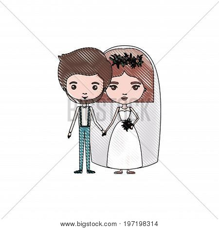 color crayon silhouette caricature newly married couple groom with formal wear and bride with straight short hairstyle vector illustration