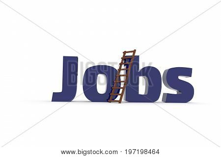 The word jobs with a ladder on a white background business concept image 3d rendering