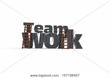 The word teamwork with two ladders on a white background business concept image 3d rendering
