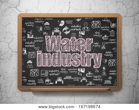Industry concept: Chalk Pink text Water Industry on School board background with  Hand Drawn Industry Icons, 3D Rendering