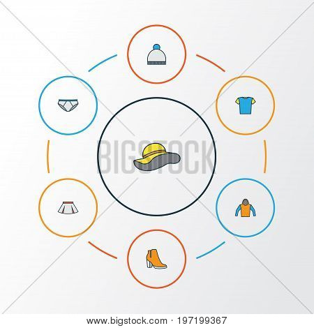 Dress Colorful Outline Icons Set. Collection Of Sweatshirt, Beanie, T-Shirt And Other Elements