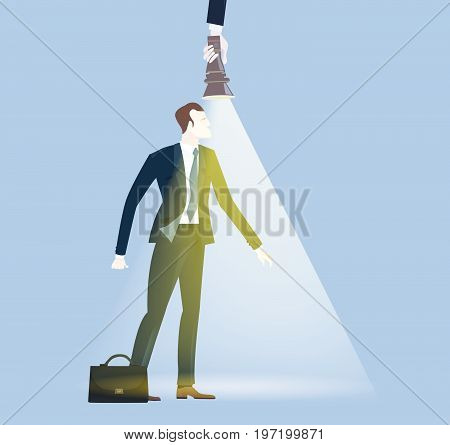 Successful businessman illuminated with torch light looking for opportunity. Winning, leading and success theme illustration. Business concept collection.