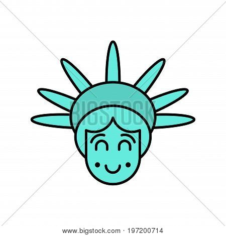 Statue Of Liberty Face Emoji. Sightseeing America. Happy Head Of Sculpture Of United States.  Lucky