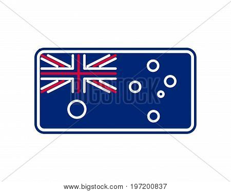 Australia Flag Linear Style. Sign Australian. National Symbol