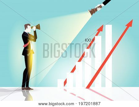 Successful businessman illuminated with torch light looking for opportunity with telescope. Winning, leading and success theme illustration. Business concept collection.