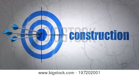 Success building construction concept: arrows hitting the center of target, Blue Construction on wall background, 3D rendering