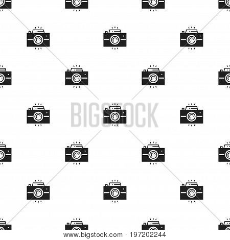 Photo camera retro seamless pattern. Print. Photograph, photo gadget, instant photo, camera, snapshot sign. Decor elements icons. Vector illustration. Background. Texture for wrapping paper textile