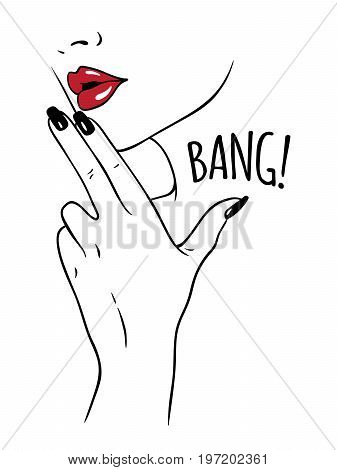 Hand drawn young woman holding fingers in gun gesture. Flash tattoo or print design in noir comics style vector illustration.