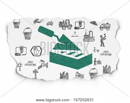 Building construction concept: Painted green Brick Wall icon on Torn Paper background with  Hand Drawn Building Icons