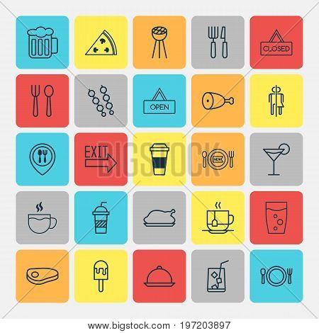 Cafe Icons Set. Collection Of Lemon Juice, Steak, Soda And Other Elements